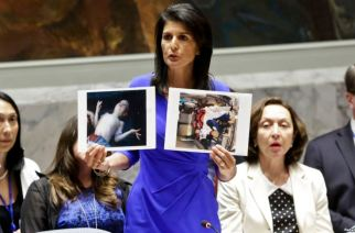 Ambassador Nikki Haley on the alleged Chemical Weapons Attacks in Idlib, Syria (AP Photo/Bebeto Matthews)