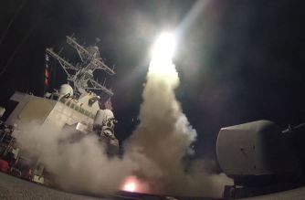The guided-missile destroyer USS Porter conducts strike operations against a Syrian military airbase while in the Mediterranean Sea, April 7, 2017. (Navy photo by Petty Officer 3rd Class Ford Williams)