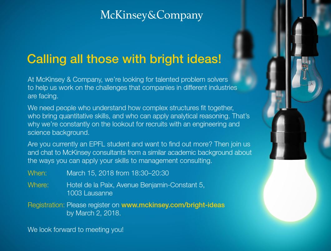 "BSNL Recommends: ""McKinsey, Calling all those with bright ideas, March 15th in Lausanne – Application deadline March 2nd."""