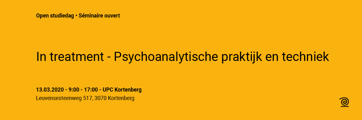 13.03.2020: Open studiedag: In treatment – Psychoanalytische praktijk en techniek