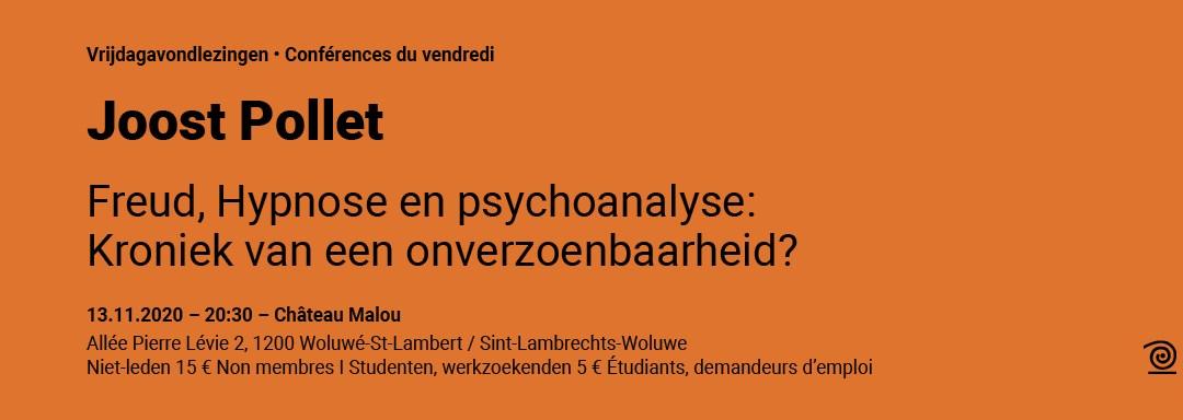 13.11.2020: Joost Pollet, Freud, hypnose en psychoanalyse: Kroniek van een onverzoenbaarheid?