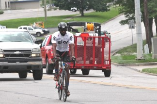 Kabir Rachure, a 29-year-old lawyer from India. Thursday, June 20, 2019 Race Across America passing through Bloomington, Indiana (Dave Askins/Beacon)
