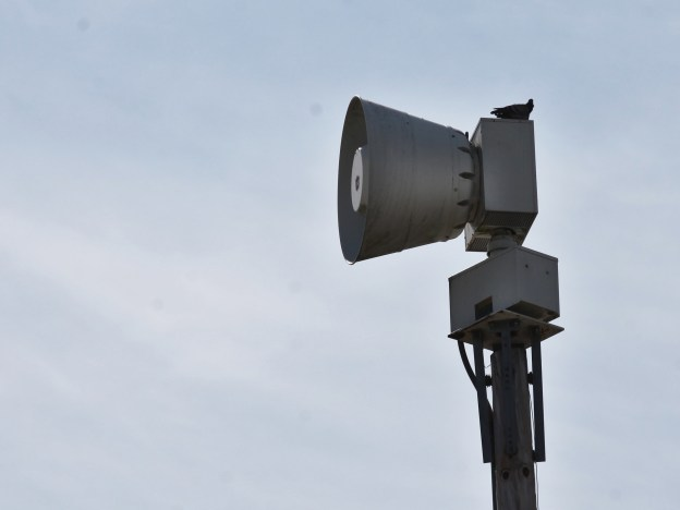Tornado siren at City of Bloomington services area on Miller Drive east of Henderson Street. (Dave Askins/Beacon)