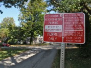 Looking north, a sign on Washington Street between 14th and 15th streets designating the area as a part of residential neighborhood parking Zone 6. (Dave Askins/Beacon)