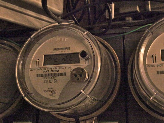 Duke Energy electric meters for downtown Bloomington residence. (Dave Askins/Beacon)