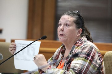 Monroe County's auditor, Cathy Smith, shows the food and beverage tax collection report. (Dave Askins/Beacon)