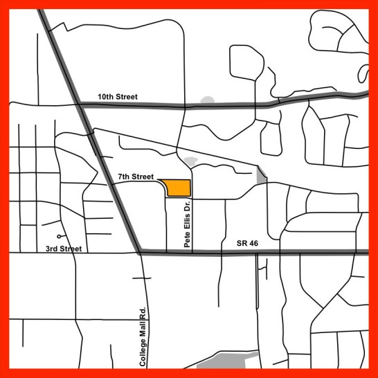 The orange area is the parcel where Curry Urban Properties is proposing a planned unit development.