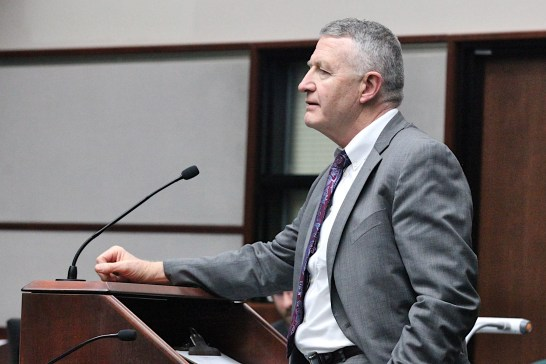 At the public podium on Jan. 22, 2020 is local attorney Mike Carmin.