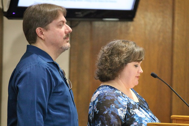 Township board chair Joe Husk and trustee Michelle Bright address Monroe County commissioners Wednesday morning. Feb. 12, 2020.