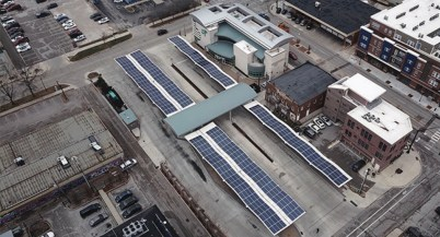 Solar panels installed on the canopies of the Bloomington Transit centers downtown center in 2018. (Image from Bloomington 2018 sustainability report.)