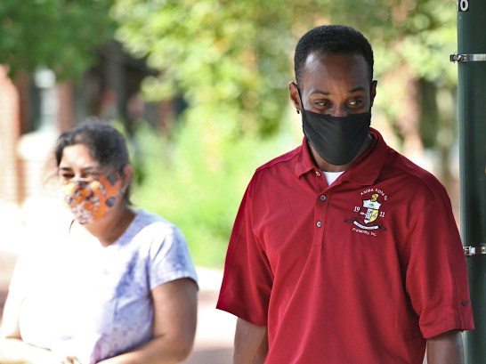 Faculty member at Indiana University's school of public heath, in the department of kinesiology, Julius Hanks, attended Monday's demonstration at Monroe County's health department.