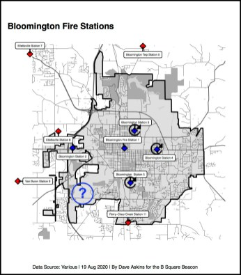 Final Annotated R Map Bloomington Fire Station locations YYYYYYY