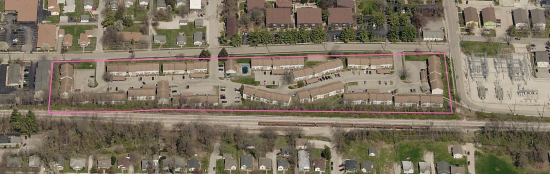 Aerial view from Monroe County GIS system of the Brownstone Terrace in spring 2020.