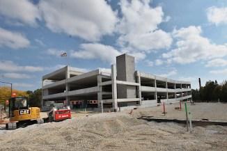 Trades District parking garage under construction Sept. 27, 2020.