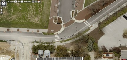 The aerial image of the 10th and Madison where the gateway artwork will be installed is from the Pictometry module of the Monroe County online property lookup system.