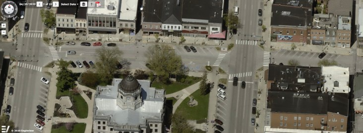 This image is from the Pictometry module of Monroe County's online property lookup system. The segment of 6th Street along the north leg of the courthouse square will be the site of a Black Lives Matter street mural to be painted on April 17.
