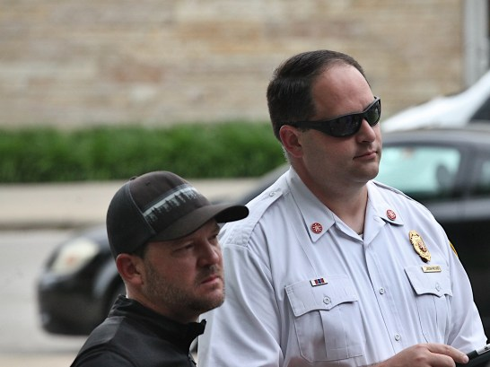 From left: Bloomington public works director Adam Wason; Bloomington fire chief Jason Moore. People's Park gathering on June 21, 2021