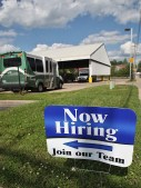 Sign advertising job openings at the Grimes Lane headquarters of Bloomington Transit.