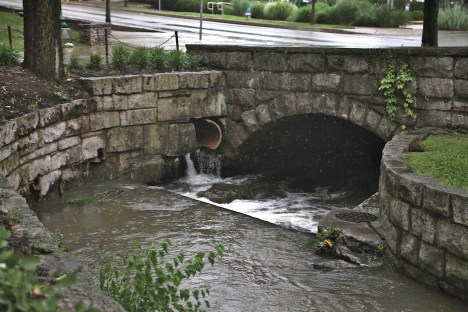 The place where the Campus River (formerly known as the Jordan River) flows into the underground culvert at Indiana Avenue and 6th Street.