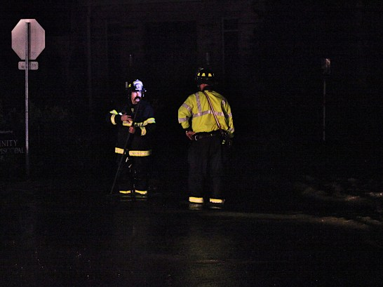 Firefighters at intersection of Grant Street and Kirkwood Avenue. Early morning of June 19, 2021.