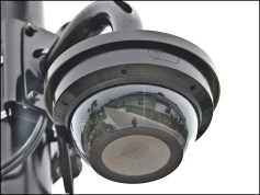 A security camera installed in Switchyard Park.