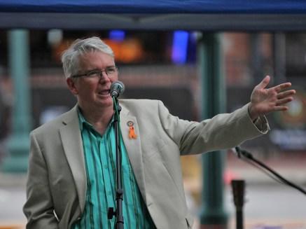 Bloomington mayor John Hamilton. mayor John Hamilton gives remarks at People's Park on July 15, 2021
