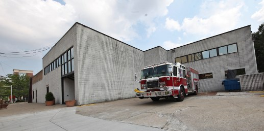 A view from the north on 4th Street of the temporary location for Station 1 of the Bloomington fire department.