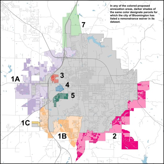 Annexation areas with parcels having waivers of any date indicated with darker colors.