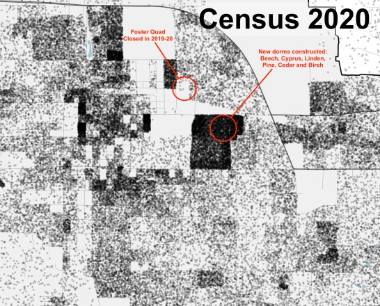 R Map 2020 2020 inset IU campus Census Dot Map for Monroe County Version 2Locator Mapxxxx