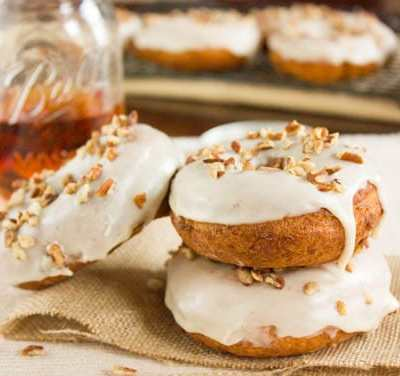 Maple and Bourbon Glazed Cake Doughnuts