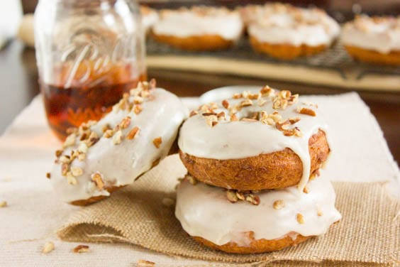 Maple and Bourbon Glazed Cake Doughnuts