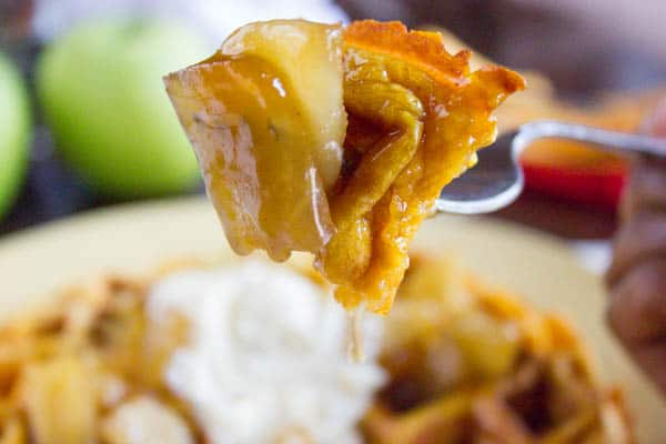Pumpkin Waffles with Apple Compote