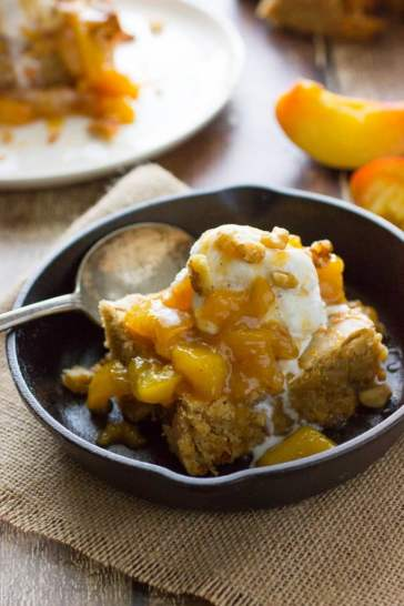 The Best Blondies with Peach Compote