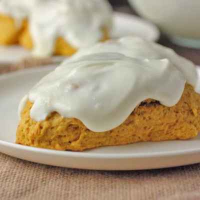 Pumpkin Scones with Cream Cheese Glaze