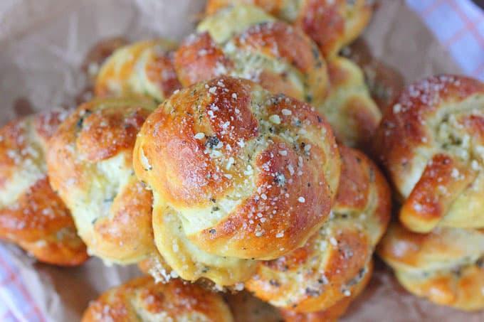Pretzel Garlic Parmesan Knots