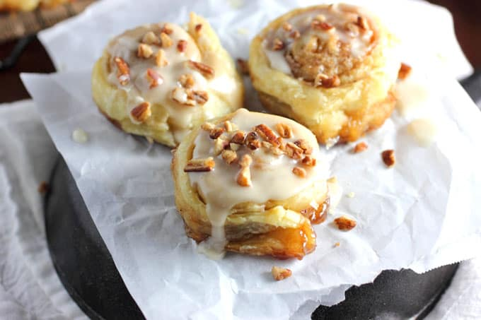 Puff Pastry Cinnamon Rolls with Maple Icing
