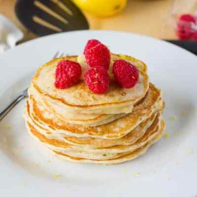 Lemon Raspberry Yogurt Pancakes