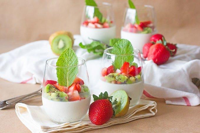 Strawberry & Kiwi Panna Cotta