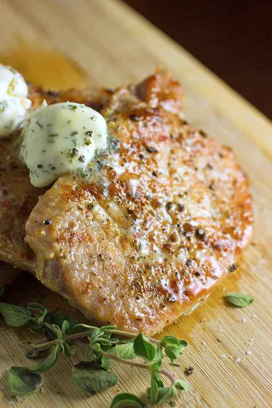 Easy Grilled Pork Chops with Herb Butter