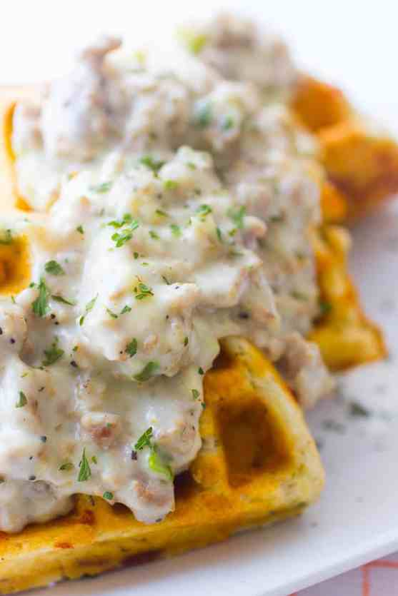 Waffle Biscuits and Gravy