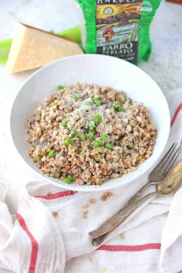 Mushroom and Pea Risotto made with Farro