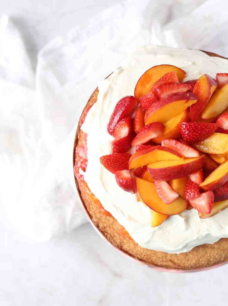 Peach and Strawberry Cake Cake