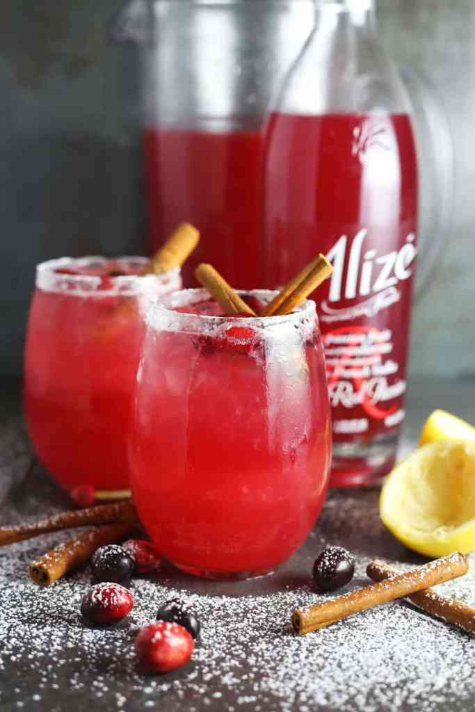Spiked Winter Cranberry Lemonade with Red Passion Alize