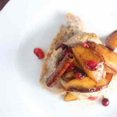 Taste of Now: Pan Fried Pork Chops with Apple and Cranberry Topping