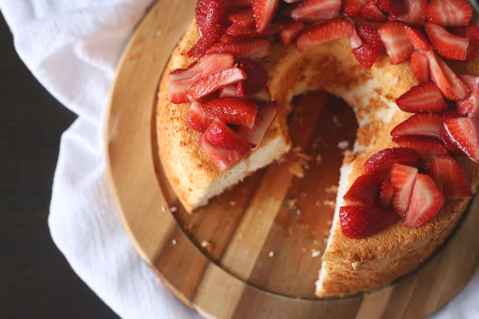 Angel Food Cake Recipe with Strawberry Topping | Brown Sugar Food Blog