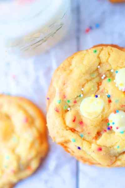 White Chocolate Chip Cake Batter Cookies