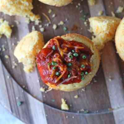 Mini Chili Stuffed Cornbread Muffins on serving platter