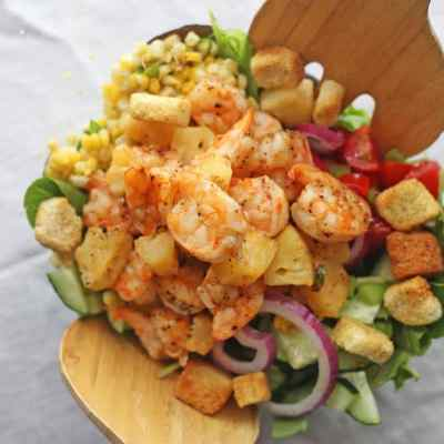 Grilled Shrimp Salad with Honey Mustard Dressing