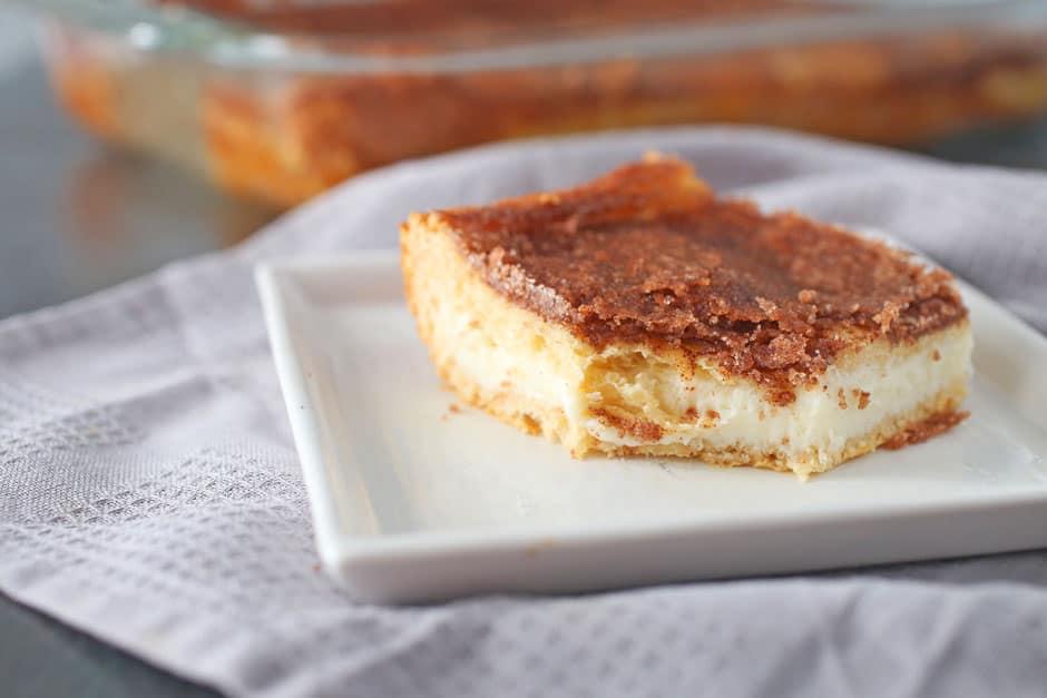 Sopapilla Cheesecake recipe on a plate