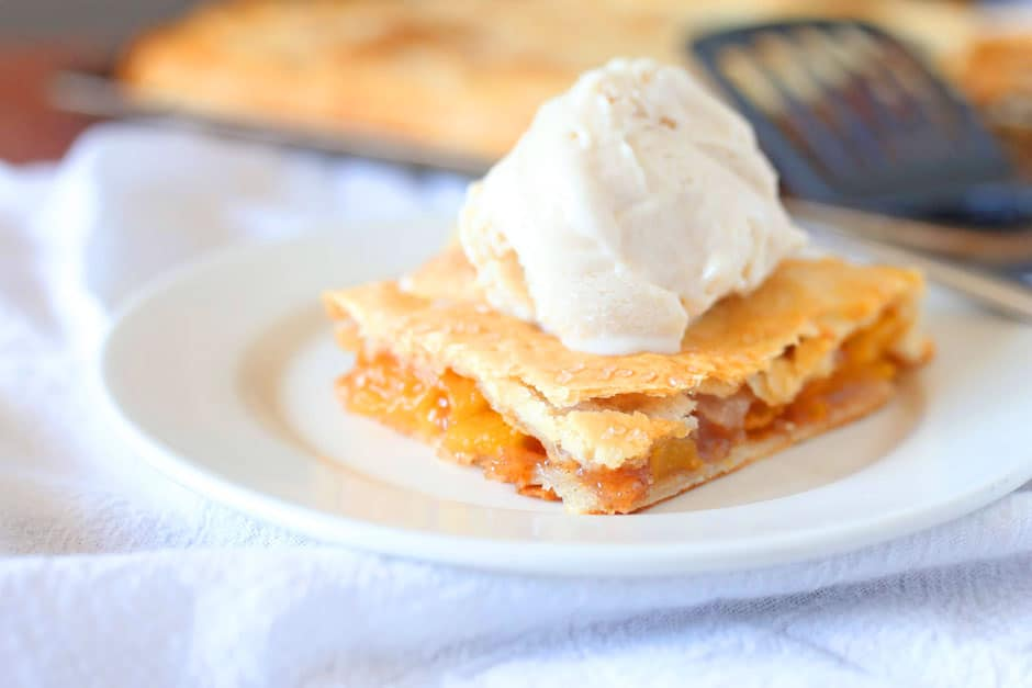 Homemade Peach Slab Pie and Ice Cream